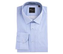 Businesshemd, Body Fit, dezent gemustert, Blau