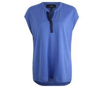 Shirt, V-Ausschnitt, Ripsbandverzierung, Blau