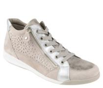 Sneaker, Veloursleder, Schnürung, Reißverschluss, Lochmuster