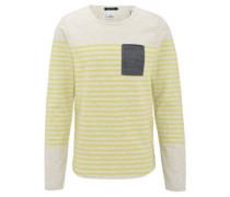Sweatshirt, Streifen, Brusttasche, Jeans-Optik