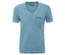 T-Shirt, V-Ausschnitt, Used Look, reine Baumwolle, Blau