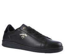 Sneaker, goldfarbene Applikationen, Leder, Schwarz