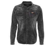 Jeans-Hemd, Brusttaschen, Used-Look, Grau