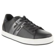Sneaker, Leder, Skater-Stil, farbige Sohle, Schwarz