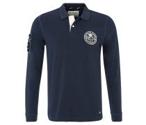 Poloshirt, Langarm, Baumwoll-Piqué, sportive Embleme, Blau