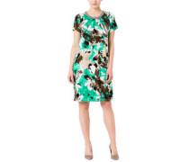 Kleid, florales Muster, Kellerfalte, gerade geschnitten