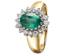 Diamant-Ring Gold 585 Smaragd, zus. 0,4 ct