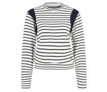 Pullover, Feinstrick, Streifen, Baumwolle, Weiß
