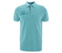 Poloshirt, Baumwolle, Front-Print, Applikation, Türkis