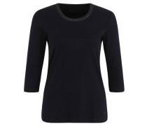 Shirt, verzierter Kragen, 3/4-Ärmel, Blau