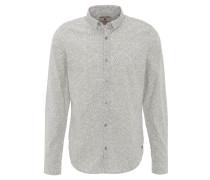 Freizeithemd, Regular Fit, geometrisches Muster, Kent-Kragen, Weiß