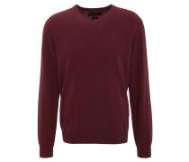 Pullover, Kaschmir, V-Ausschnitt, Rippbündchen, Rot
