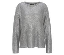 Pullover, Metallic, Strick, langarm, Rundhalsausschnitt, Silber