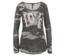 Langarmshirt, Camouflage-Muster, Pailletten, Grau