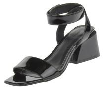 Sandaletten, Lack-Optik, Blockabsatz, Klettverschluss