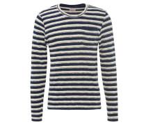 Pullover, Strick, Brusttasche, Streifenverlauf, Blau