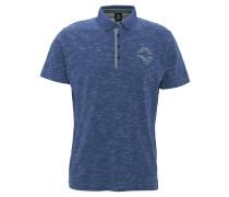 Poloshirt, leichter Stoff, meliert, Stickerei, Blau
