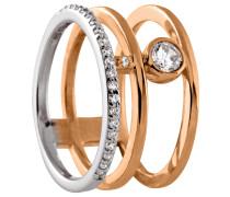 Ring, modern, mit Zirkonia, Silber, Rosegold