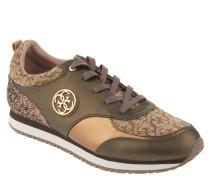 Sneaker, Glitzer-Pailletten, Emblem, Taupe
