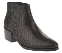 Ankle Boots, Reptilien-Struktur, elastische Einsätze, Schwarz