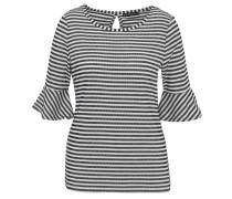 Shirt, Volantärmel, gestreift, Rückenausschnitt, Weiß