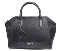 Handtasche, genarbtes Lederimitat, Anhänger, Blau