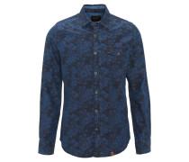 Freizeithemd, Regular Fit, floraler Print, Brusttasche, Blau