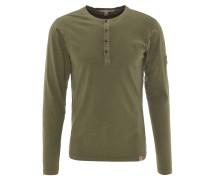 Langarmshirt, Henley-Stil, geschlitzt, reine Baumwolle, Oliv