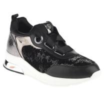 """Wedge Sneaker """"Cara"""", Wende-Pailletten, Satin-Schnürsenkel, Schwarz"""