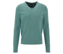 Pullover, V-Ausschnitt, Baumwolle, Waffelstrick-Optik, Grün