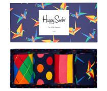 """Socken """"Origami"""", Baumwoll-Mix, 4er-Pack, Geschenk-Box"""