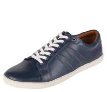 Sneaker, Schnürung, Leder, Kroko-Optik, Blau