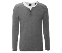 Pullover, integriertes T-Shirt, Henley-Stil, Rollsäume, Grau