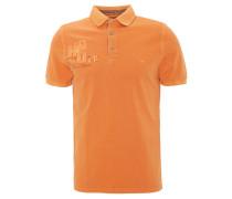 Poloshirt, Print, Aufnäher, Logo-Stickerei, Orange