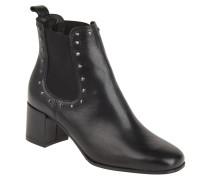 Chelsea Boots, Glattleder, Nieten, Blockabsatz, Schwarz