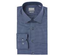 Businesshemd, Modern-Fit, Jacquard, Kent-Kragen, Blau