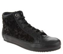 Sneaker, hoher Schaft, Samt, florales Muster, Schwarz