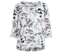 Bluse, floraler Allover-Print, Ärmelriegel, Weiß