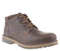 Boots, Leder, Profilsohle, Kontrastnähte, Braun