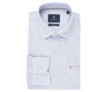 Businesshemd, Modern Fit, verdeckter Button-Down-Kragen, Weiß