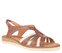 Sandalen, Leder, zweifarbiges Design, elastischer Einsatz, Braun