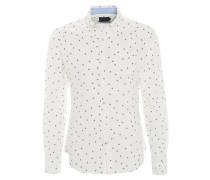 Freizeithemd, gemustert, Brusttasche, Button-Down-Kragen, Weiß