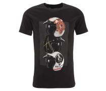 T-Shirt, Print, Baumwolle, Schwarz