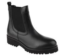 Chelsea-Boots, Leder, uni, dicke Sohle, Schwarz