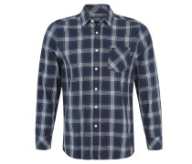 Freizeithemd, Karo-Muster, Brusttasche, Blau