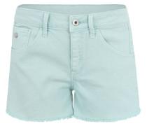 Jeans-Shorts, Fransen-Saum, Emblem, Patch
