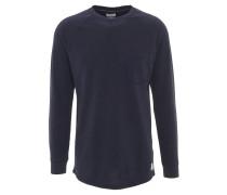 Langarmshirt, uni, strukturiert, Brusttasche, Baumwolle, Blau