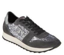 Sneaker, Veloursleder, Metallic-Optik, Glitzer