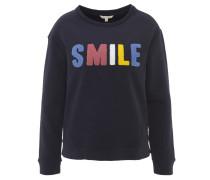 Sweatshirt, Baumwolle, Stickerei, Rundhalsausschnitt, Blau