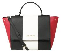Handtasche, Kunstleder, Saffiano-Optik, Logo, Weiß